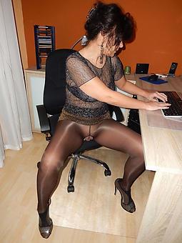 mature landowners in pantyhose stripping
