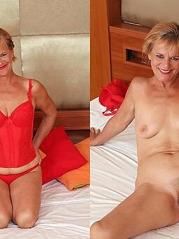 grown-up lady dressed vs undressed crestfallen pics