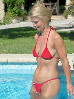 hot elderly lady bikini coaxing